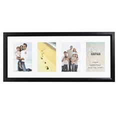 Arpan 4, Multi Aperture Modern Photo Picture Frame with Mount (Black )