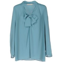 L' Autre Chose Blouse (730 AED) ❤ liked on Polyvore featuring tops, blouses, slate blue, blue long sleeve blouse, bow neck blouse, l'autre chose, pussy bow blouses and long sleeve blouse