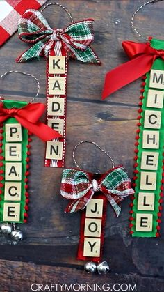 Christmas Diy Ornament Gift Idea Personalized Scrabble Letter Ornaments- cute christmas craft to make with the kids or adults! Christmas DIY ornament gift idea for parents, grandparents, etc. Cute art project that can be made with old scrabble tiles. Christmas Crafts To Make, Christmas Ornament Crafts, Christmas Art, Holiday Crafts, Pallet Christmas, Handmade Christmas Decorations, Preschool Christmas Crafts, Christmas Sewing Projects, Dollar Store Christmas
