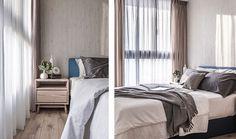 有別於主臥與次臥房,女兒房在色系上明顯的淡雅許多。床頭淺色木頭直紋壁紙的牆面隱藏拼接的縫隙,北歐訂製版的原木床頭櫃多了點女孩的氣息;沒有多餘的設計和顏色,把焦點留給背牆的木頭紋理,僅用木材原本的顏色區隔三間臥房的色調,讓空間風格一致中又有著各自的特色。