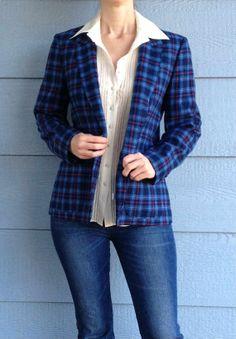 Vintage 80s Pendleton 100% Virgin Wool Blazer // Plaid Blue Red Cream Yellow Striped // Womens Jacket Top Coat // Preppy // School Girl #purchased