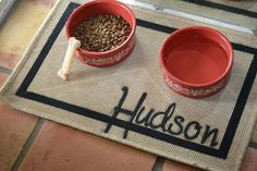 Pet Feeding Mat Natural Hessum Personalized by ReinventingOrdinary, $23.00