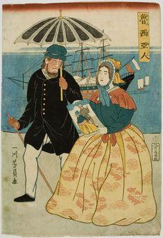 Utagawa Yoshikazu: Russian Couple (Oroshiajin), published by Manya Yoshibei, Late Edo period, eighth month of 1861 - Harvard Art Museum Japanese Prints, Japanese Art, Work In Japan, Asian Image, Harvard Art Museum, Japan Painting, East Of Eden, Japanese History, Historical Maps