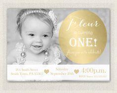 1st birthday invitation black white gold heart invitation pink