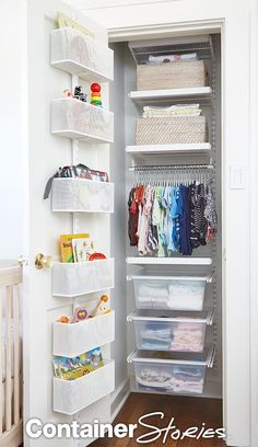 Oh Baby! A Spare Room Is Transformed For Twins - Nursery closet organization, Kids closet organization, Small closet organization, Small room bedroom, Linen closet organiz - Closet Door Storage, Nursery Closet Organization, Organizing Kids Rooms, Baby Wardrobe Organisation, Closet Drawers, Diy Organization, Baby Clothes Storage, Baby Storage, Nursery Storage
