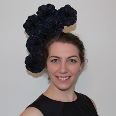 Lexington - Navy floral headpice by Lauren J Ritchie  Perfect piece for Ascot Race Carnival or Melbourne Cup Day Races.
