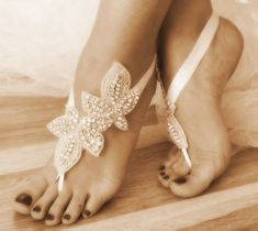 Rhinestone Beach wedding barefoot sandals,    beach wedding barefoot sandals ___ ivory lace sandals  In them you need to pay attention and you'll feel the queen of the beach!Beach weddings are a great