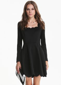 Black Long Sleeve Backless Scalloped Dress - Sheinside.com