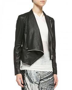 Helmut Lang Kiln Draped Leather Jacket Black | Coat, Jacket and Clothing