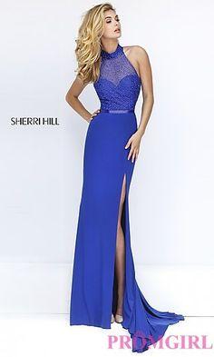 Sleeveless Open Back Sherri Hill Long Prom Dress at PromGirl.com