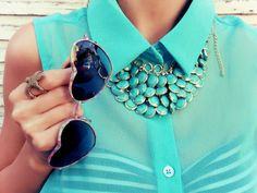 Teal necklace and heart shaped sunglasses Azul Tiffany, Tiffany Blue, Cathy Waterman, Heart Glasses, Saint Laurent, Heart Shaped Sunglasses, Markova, Turquoise Jewelry, Turquoise Shirt
