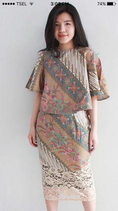 Calm Source by fennyflorencia batik Dress Brokat, Kebaya Dress, Batik Kebaya, Batik Blazer, Blouse Batik, Model Dress Batik, Batik Dress, Rok Batik Modern, Dress Batik Kombinasi