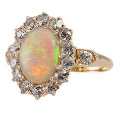 Beautiful Opal and Old European Cut Diamond Ring