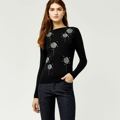Warehouse, DANDELION EMBROIDERED JUMPER Black 1