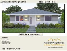 2 Bed + Study Nook Home Design   House Plan SALE   Living Area 72 M2 Total  Area 100m2 Or 1076 Sq Foot   Study Nook, Elevation Plan And Modern House  Design