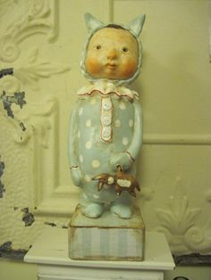 Vintage Inspired Sculpted Paperclay Boy Doll