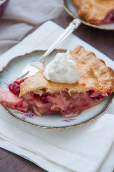 Swap out for your standard, classic apple, for a Cranberry-Apple Pie with Maple Whipped Cream this Thanksgiving! | TheCornerKitchenBlog.com #dessert #baking #applepie