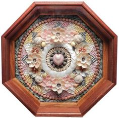 Richard Lee Sailor's Valentine, natural un-dyed shells and fresh water pearls. Diameter 14 in.