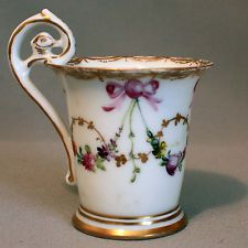 Vintage DRESDEN DEMITASSE Hand Painted Porcelain Cup FLOWERS BOWS GOLD Germany