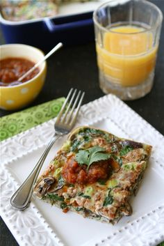Baked Egg Breakfast Casserole with Mushrooms, Spinach & Salsa Recipe by CookinCanuck