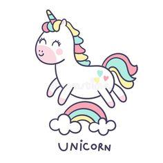 Cute Unicorn Cartoon Little Pony Jump On Air With Rainbow Cartoon For Nursery Poster Stock Vector - Illustration of cloud, cake: 155293465 Unicorn Painting, Unicorn Drawing, Unicorn Art, Cartoon Unicorn, Unicorn Illustration, Illustration Vector, Cartoon Happy Birthday, Rainbow Cartoon, Unicornios Wallpaper