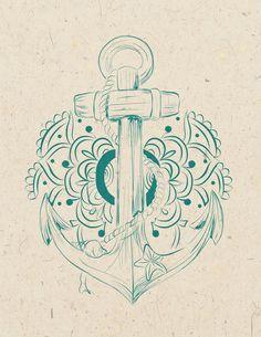 Anchor mandala Art Print