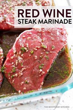 Red Wine Steak Marinade - The Bewitchin' Kitchen This red wine steak marinade is incredibly easy to throw together. It's my favorite grilled steak marinade, so whip this up and fire up the BBQ! Tofu Marinade, Steak Marinade Red Wine, Steak Marinade For Grilling, Steak Marinade Recipes, Grilled Steak Recipes, How To Grill Steak, Grilled Meat, Grilling Recipes, Beef Recipes
