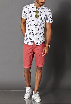 Waterfowl Cotton Shirt | FOREVER 21 MEN - not a big fans of converse. I would wear white vans instead. #MensFashionShorts