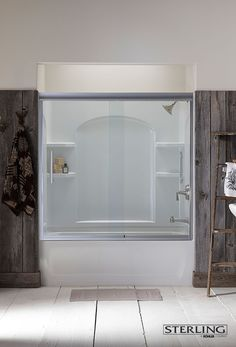 Try a tub-shower system by Sterling®. It includes everything you need to give your child a bath as well as all the features you want for a soothing shower. Attic Bathroom, Bathroom Kids, Basement Bathroom, Bathroom Fixtures, Bathrooms, Bathtub Shower Doors, Framed Shower Door, Shower Enclosure, Bath Shower