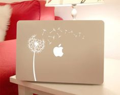 Dandelion Decal Flower Macbook Laptop, Wind Blowing Flower Vinyl Sticker to Personalize Computers - Removable Peel & Stick Stickers