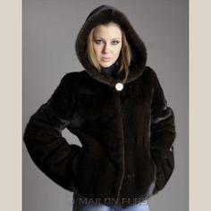 Hooded Velvet Mahogany Mink fur jacket