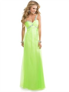 Lime Green One Shoulder Crystals Open Back Chiffon Prom Dress PD2795