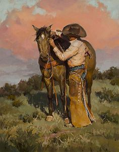 """Beautiful oil painting of a cowboy and his horse named """"Another Notch"""" by Shawn Cameron"""