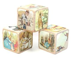 Beatrix Potter Peter Rabbit Baby Shower Gift by Booksonblocks Wooden Baby Blocks, Wood Blocks, Block Table, Rabbit Baby, Peter Rabbit, Beatrix Potter, Table Centerpieces, Baby Shower Gifts, Create Your Own