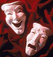 The comedy and tragedy masks symbolize the theater and represent the traditional generic division between comedy and tragedy. They are symbols of the ancient Greek Muses, Thalia (the Muse of comedy) and Melpomene (the Muse of tragedy).