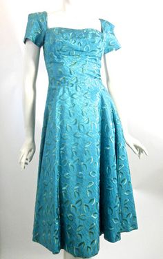 Turquoise Embroidered Silk Party Dress circa 1950s - Dorothea's Closet Vintage