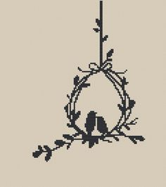 Two Birds in the Nest Silhouette Counted Cross Stitch Pattern PDF Instant Download