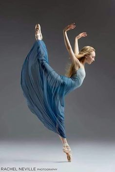 Classical ballet dancer, Nastia Alexandrova, in a blue romantic tutu, in the studio on a gray background. Photograph taken in San Francisco by Rachel Neville. Dance Like No One Is Watching, Just Dance, Ballet School, City Ballet, Dance Movement, Dance Poses, Ballet Photography, Ballet Beautiful, Beautiful Lines