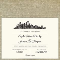 Seattle Wedding Invitations by South City Press Wedding
