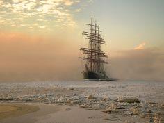 """Ship """"Sedov"""" thru the frosty myst"""