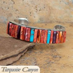 Navajo Native American Orange Shell & Turquoise Cuff Bracelet