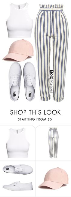 """1335."" by asoul4 ❤ liked on Polyvore featuring H&M, Topshop, Vans, stripedpants and casuallook"