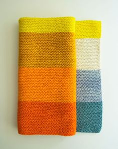 New Super Easy Baby Blanket - the purl bee - summertime palette that starts with the blues of the cool ocean, passes into the bright light of the horizon and then rises to the hot flames of the sun