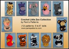 Crochet Little Zoo Collection crochet zoo crochet by pamspatterns (Craft Supplies & Tools, hippo, monkey, rhino, crochet, crochet tiger, crochet lion, crochet elephant, crochet panda, crochet flamingo, crochet zoo, crochet giraffe, crochet parrot, crochet zebra)