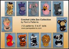 Crochet Little Zoo Collection crochet zoo crochet by pamspatterns (Craft Supplies & Tools, hippo, monkey, rhino, crochet, crochet tiger, crochet lion, crochet elephant, crochet panda, crochet flamingo, crochet zoo, crochet giraffe, crochet parrot, crochet zebra)