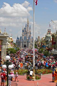 Cinderella's Castle from Main Street, USA, at the Magic Kingdom, Walt Disney World.