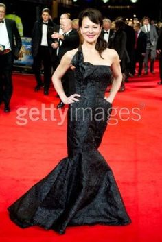 Helen McCrory in our cellophane organza fishtail dress with asymmetrical bow detail.