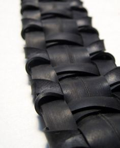 Bicycle Bracelet - Woven Innertube Jewelry - Dark Black Gothic Rubber