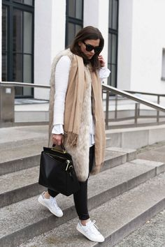 """More on www.fashiioncarpet.com Fake Fur Vest by Zara, Knit by Theory, Bag by 3.1. Phillip Lim Ryder Satchel, Sneaker """"Stan Smith§ by Adidas, Pants by H&M I #fashiioncarpet #ninaschwichtenberg"""