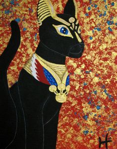 """Egyptian Cat 14""""x11"""" Acrylic Paint on Canvas Panel by HeatherDO on Etsy https://www.etsy.com/listing/206858181/egyptian-cat-14x11-acrylic-paint-on"""